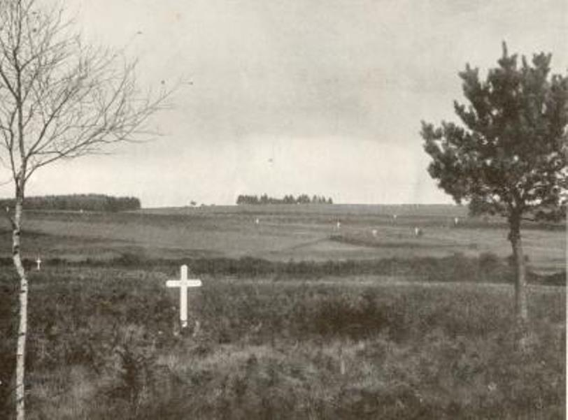 White crosses in a field near Bertrix mark the spots where Frenchmen died and were buried