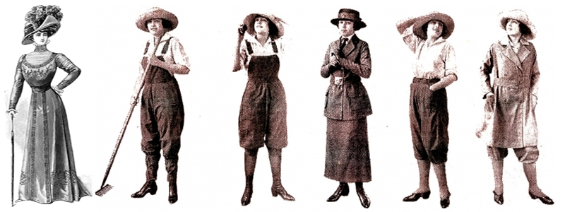 Left: a typical fashion of the Edwardian Era. The fashions on the right appeared in the course of the war