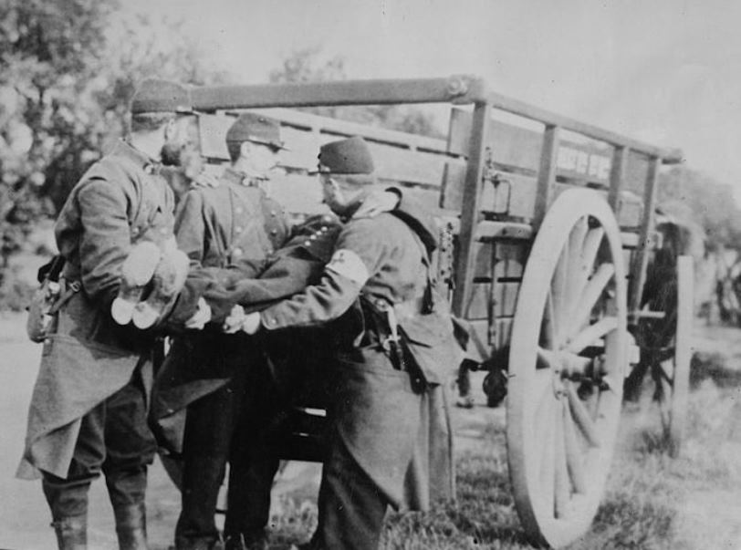 French soldiers removing dead and wounded from the battlefield