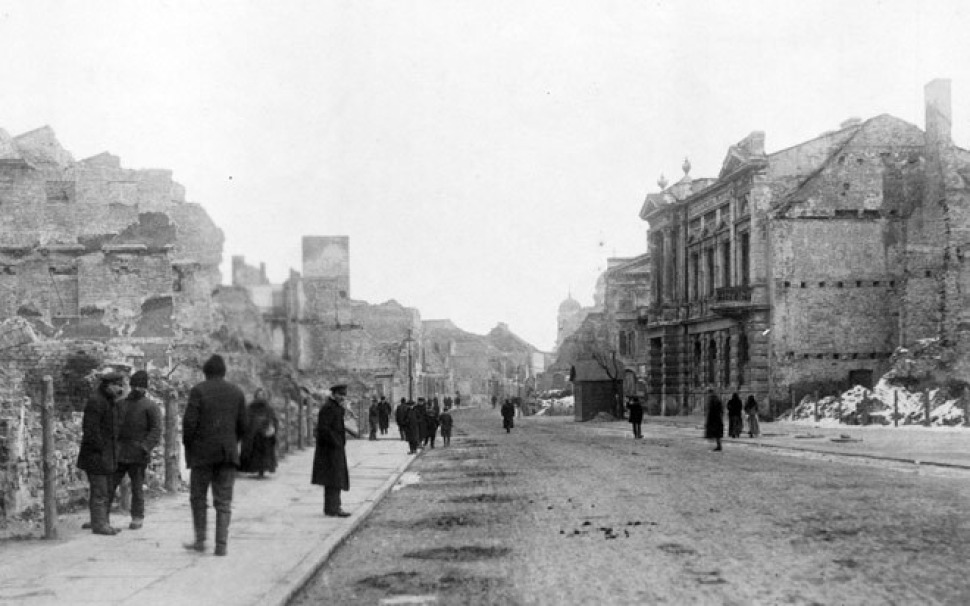 A view of the devastation in Kalisz, bombarded by Germany for three weeks in August 1914