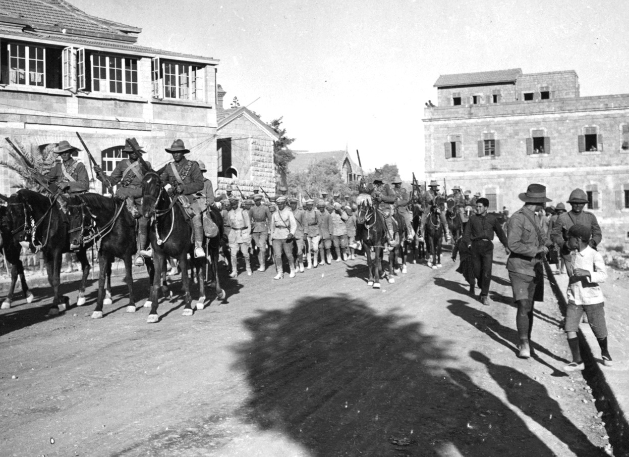 New Zealand mounted rifles escorting German POWs taken near Jericho in 1918