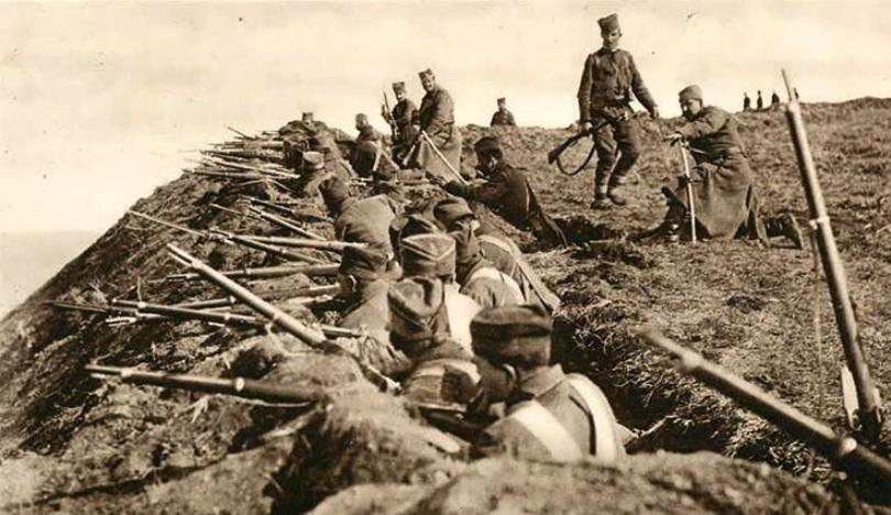 Serbian troops fighting on the Danube in August 1914