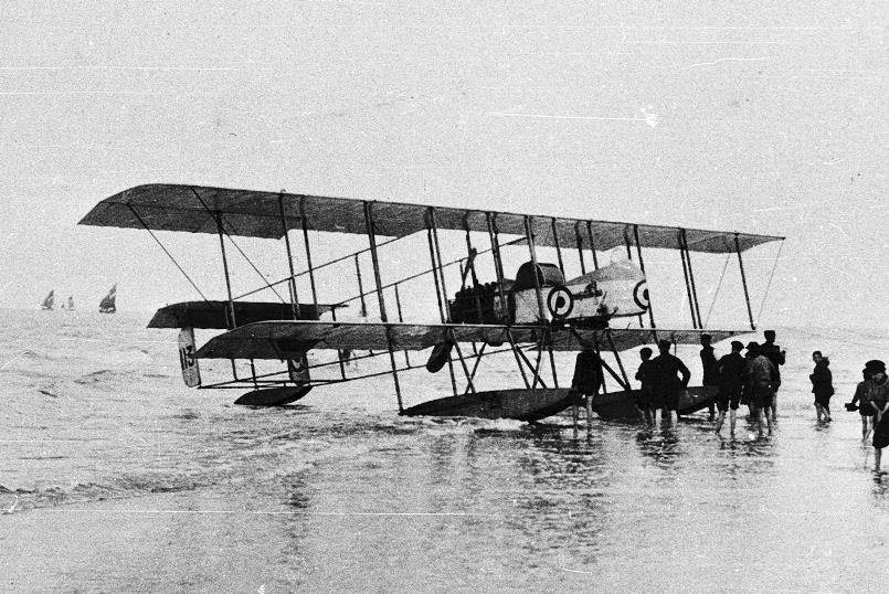 A Belgian-built Farman MF11 Hydro like the one launched from the Wakamiya