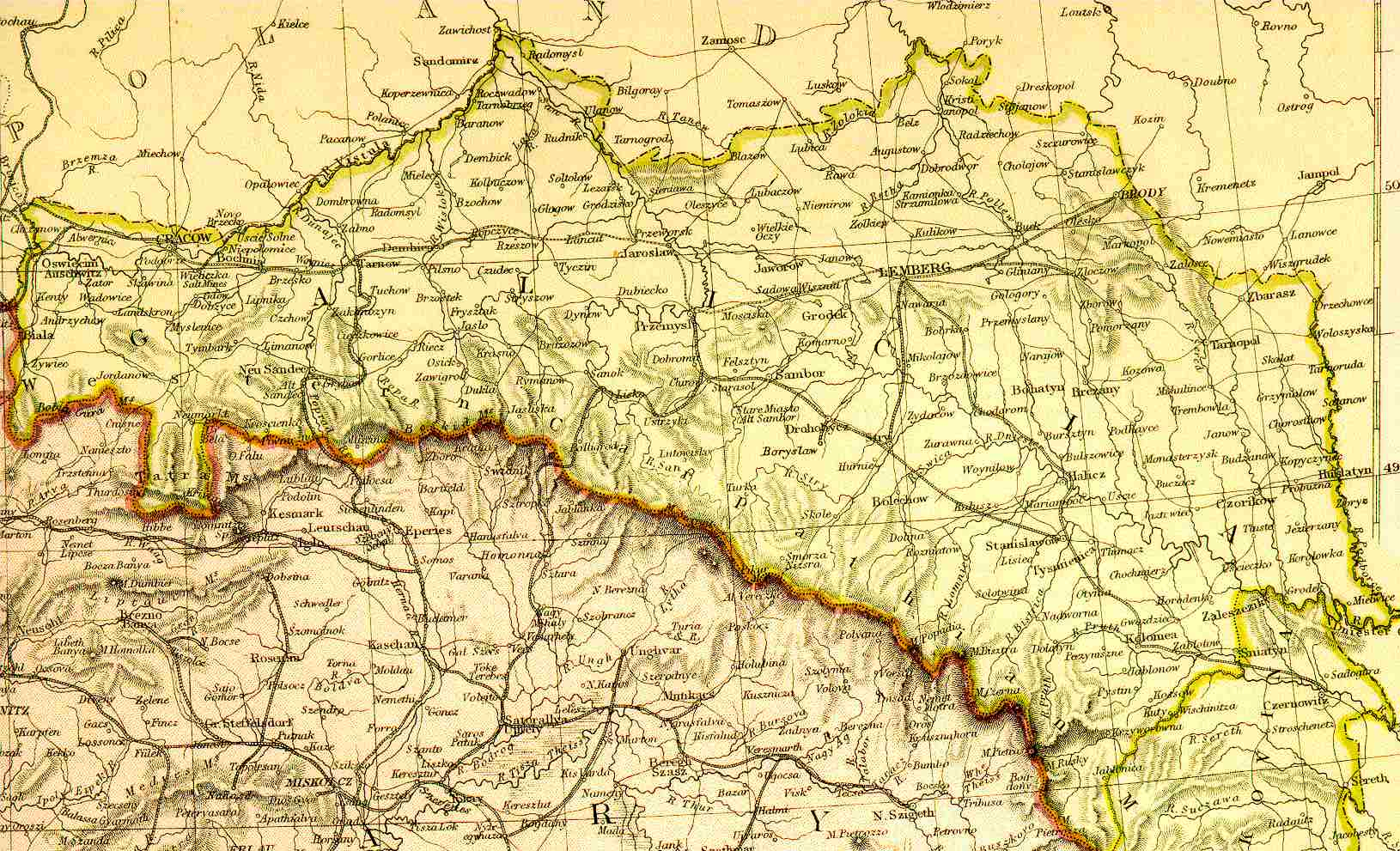 Map of Galicia, now split between modern Poland and Ukraine