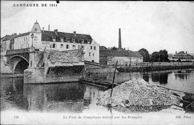 One of the Oise River bridges blown up by France that helped shape the Western Front
