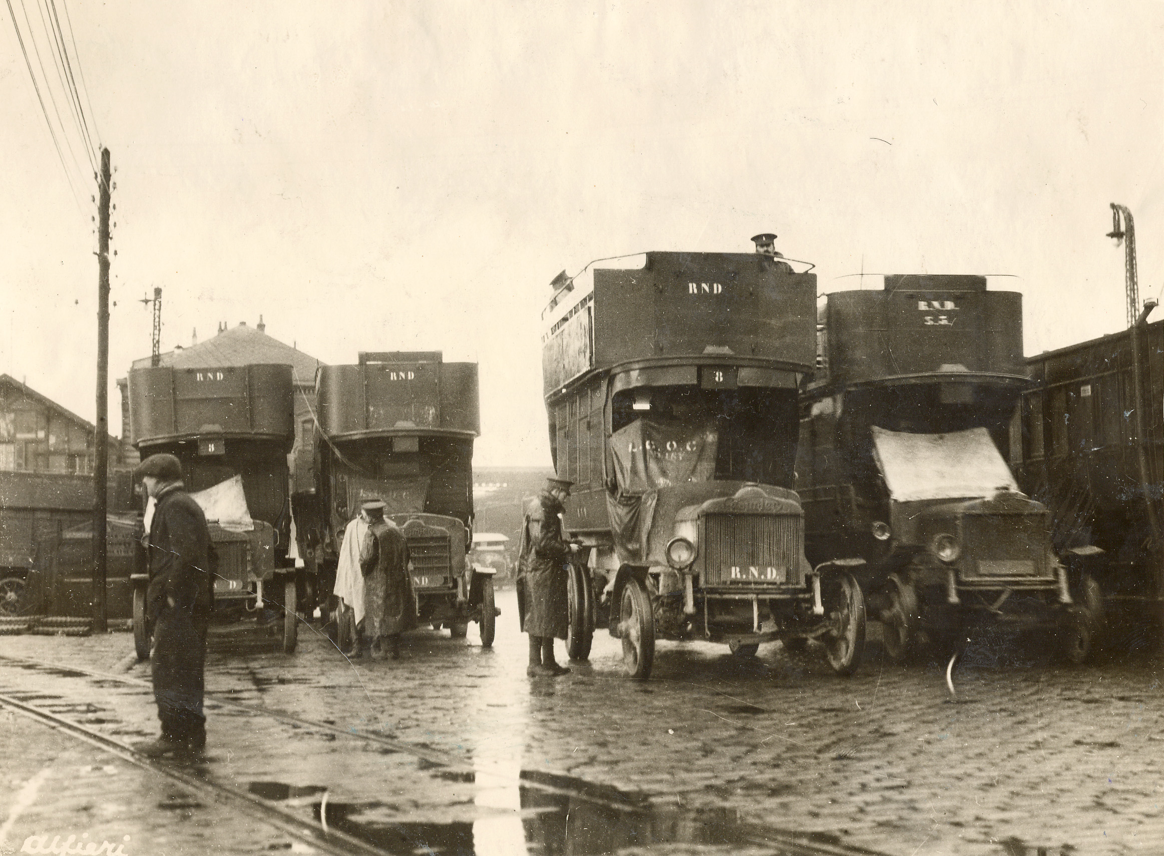 London double-decker buses converted to troop transports