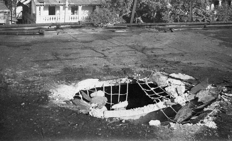 Damage in downtown Madras from the Emden's guns. Panic did not fully subside until she was sunk