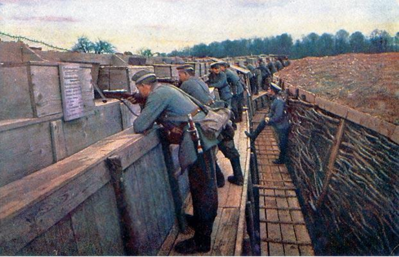 A rare color photo of a third-line German trench shows  extensive improvements