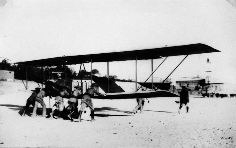 An Aviatik biplane of the Schutztruppe of German Southwest Africa