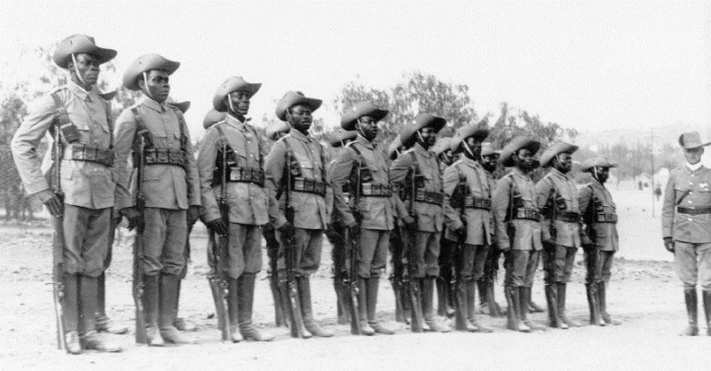 Due to the huge linguistic diversity of Kamerun, native troops had to be drilled and instructed in Pidgin English