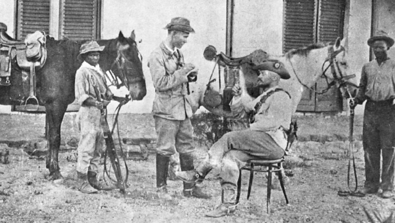 Manie Maritz, seated, during his rebellion against the Union of South Africa. During the 1930s he became a virulent right wing anti-Semite