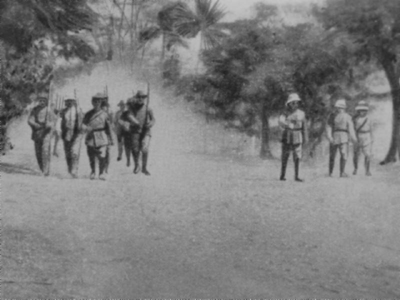 German troops marching into Herbertshohe to surrender