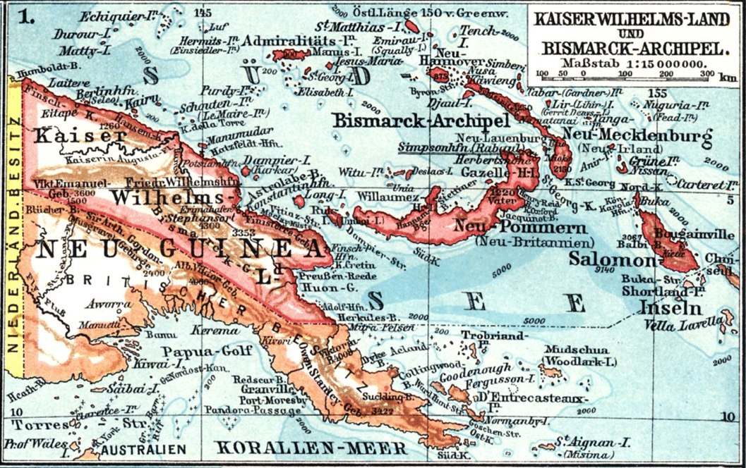 A map showing German location names for the Kaiser's Pacific colonies