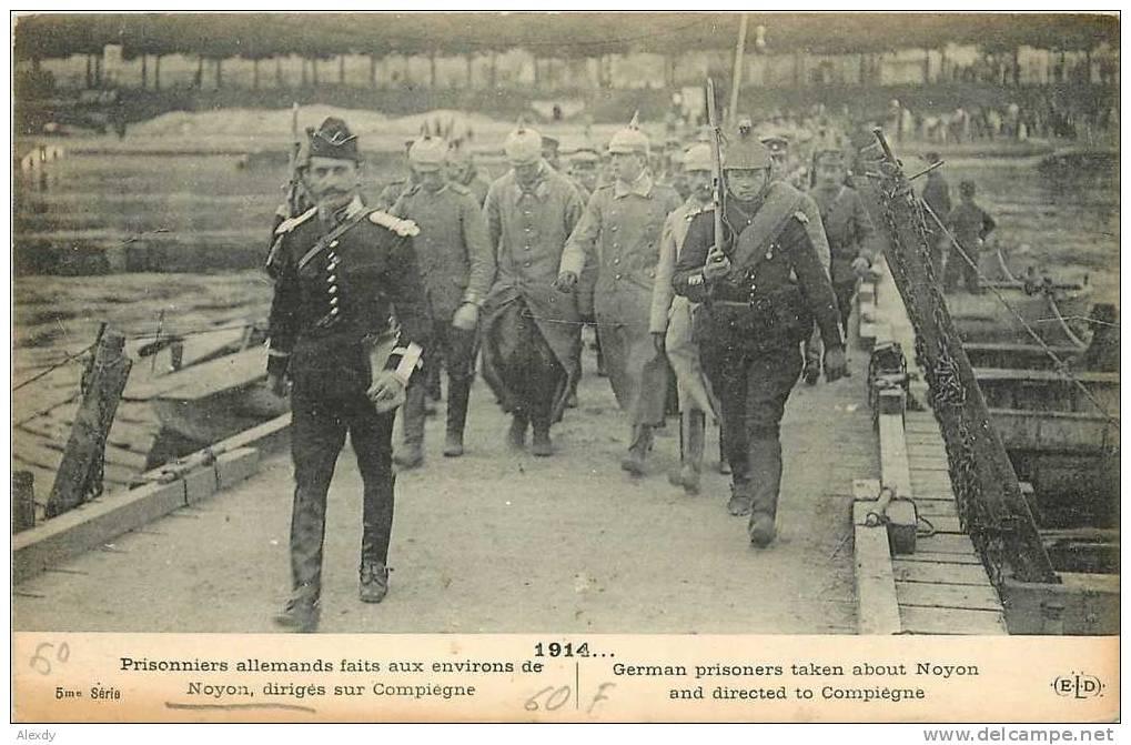 A postcard of German prisoners taken at Noyon