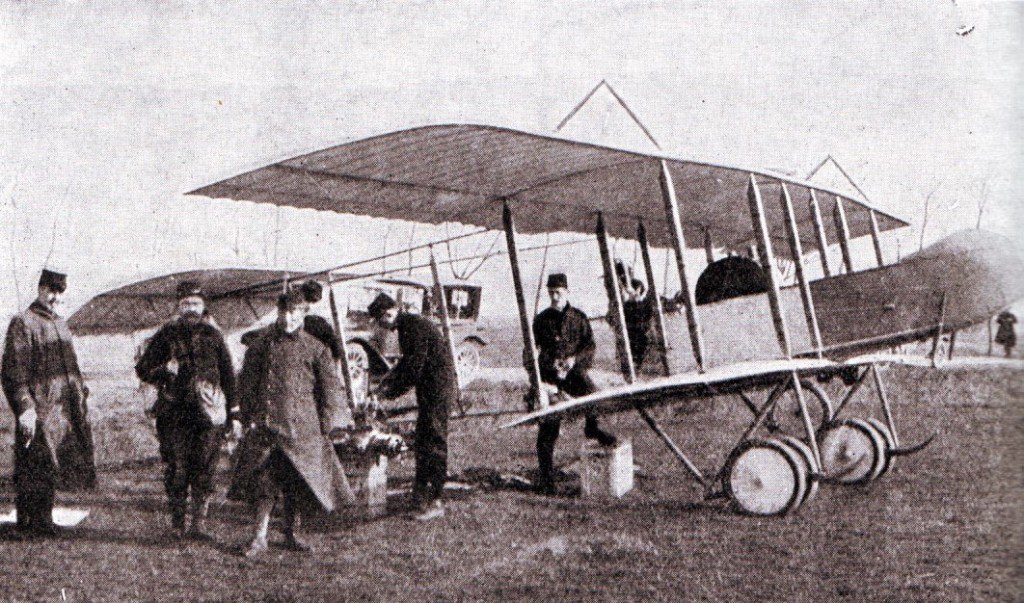 Being repaired for flight in the Battle of the Marne, this appears to be a modified Vickers F.B.5 with a 'push' propeller