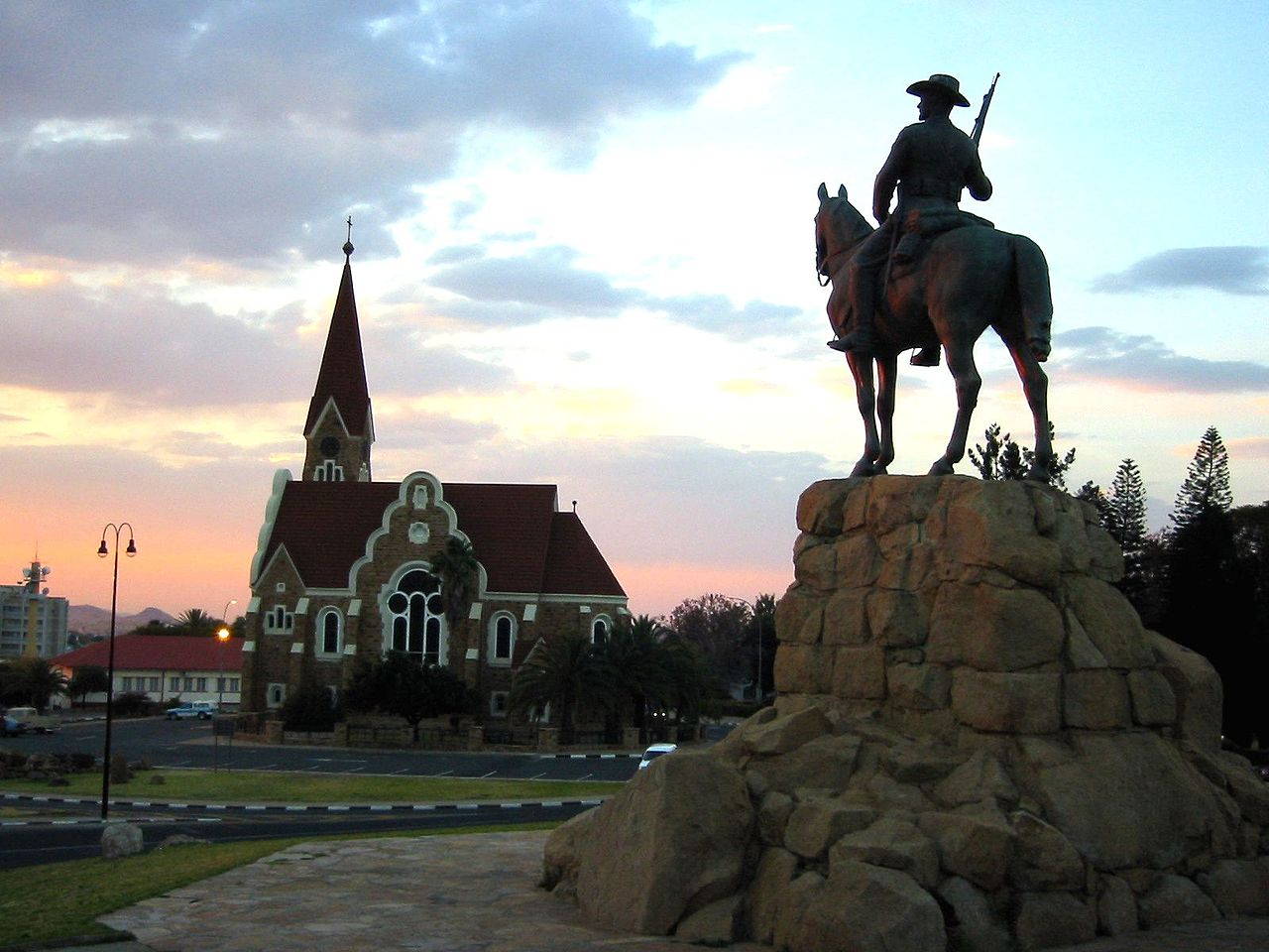 The rieterdenkmal, a statue representing the Germans who committed genocide in 1904, still overlooks the Namibian capital of Windhoek