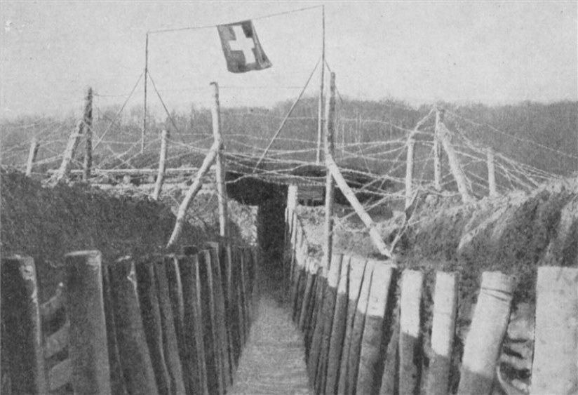 A view of the French trench line leading right up to the border crossing with Switzerland