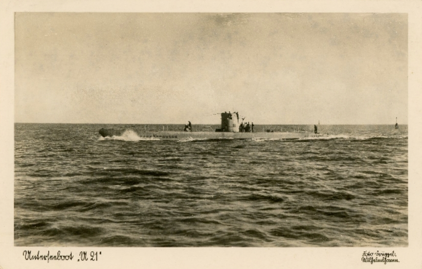 A postcard of U-21. She would see active service in two navies, sinking in an accident in 1919