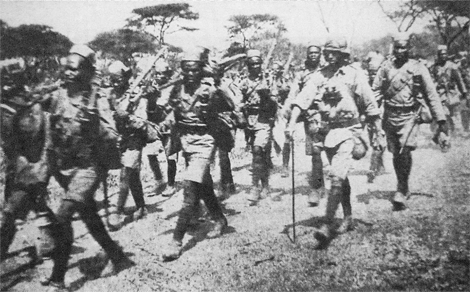 The 1st King's African Rifles march into Longido in 1916