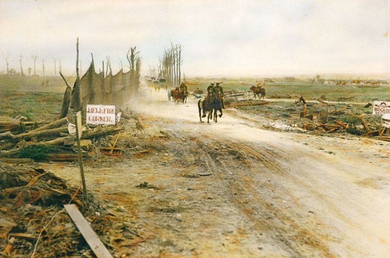 'Hellfire corner,' the intersection of the Menin Road and the Ypres-Roulers railroad that lay under German artillery observation throughout the war. Crossed mostly at night, on the left you can see the cloth barrier erected to hid transport columns