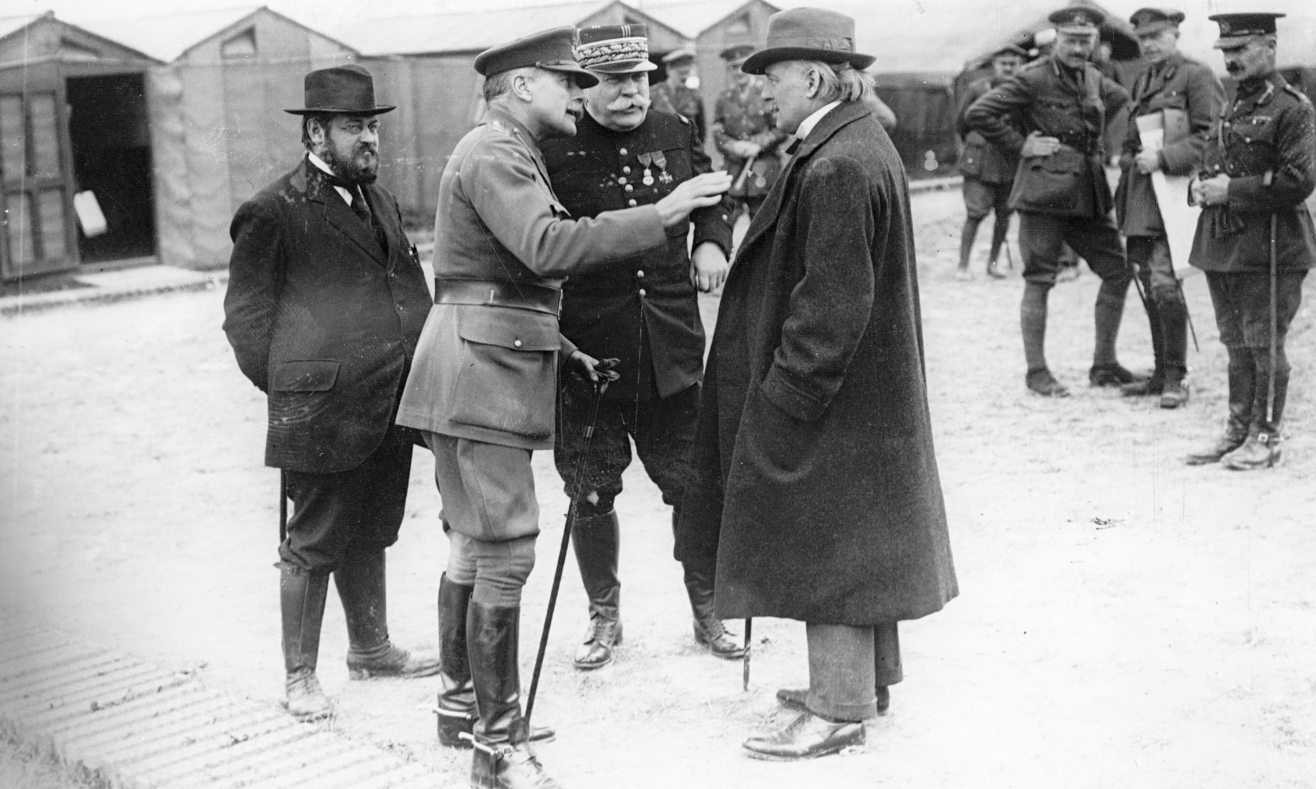 Joffre with Lloyd George and Alexander Haig