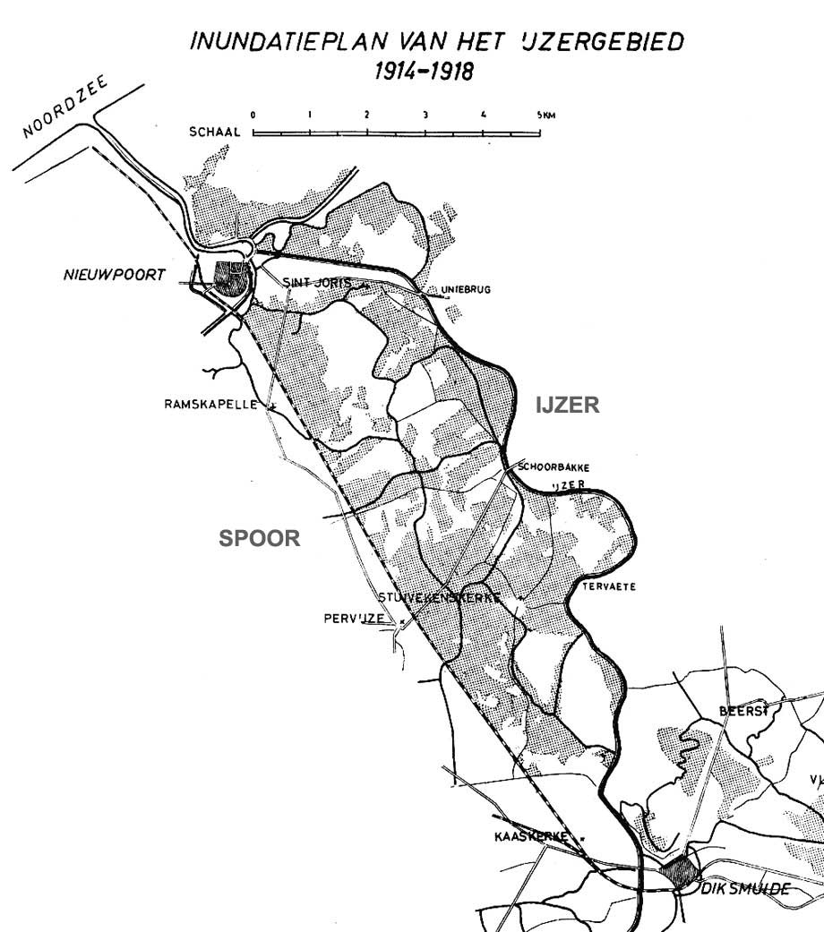 A map of the Belgian sector. Shaded areas indicate defensive flooding