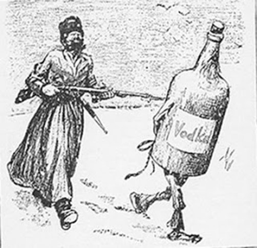 A contemporary cartoon. Russia's temperance decree was very popular with American prohibition activists