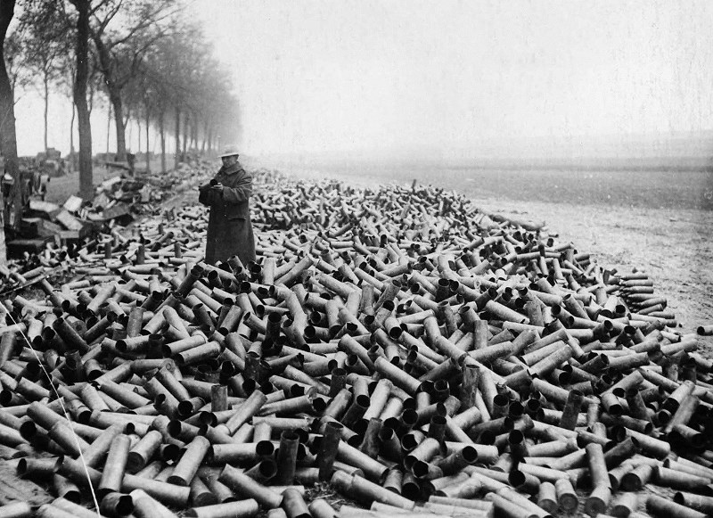 A photo from 1916 or later showing the tremendous number of shell casings produced by massed artillery fire