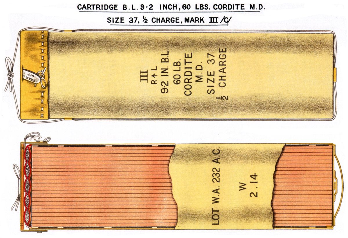 An example of a cordite propellant charge bound in leather