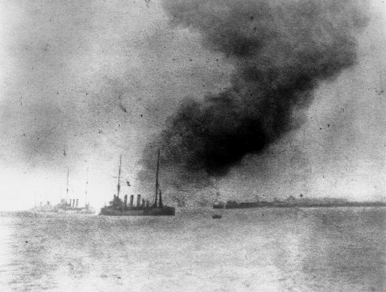 A photograph of the smoke column rising from the destruction of the Bulwark