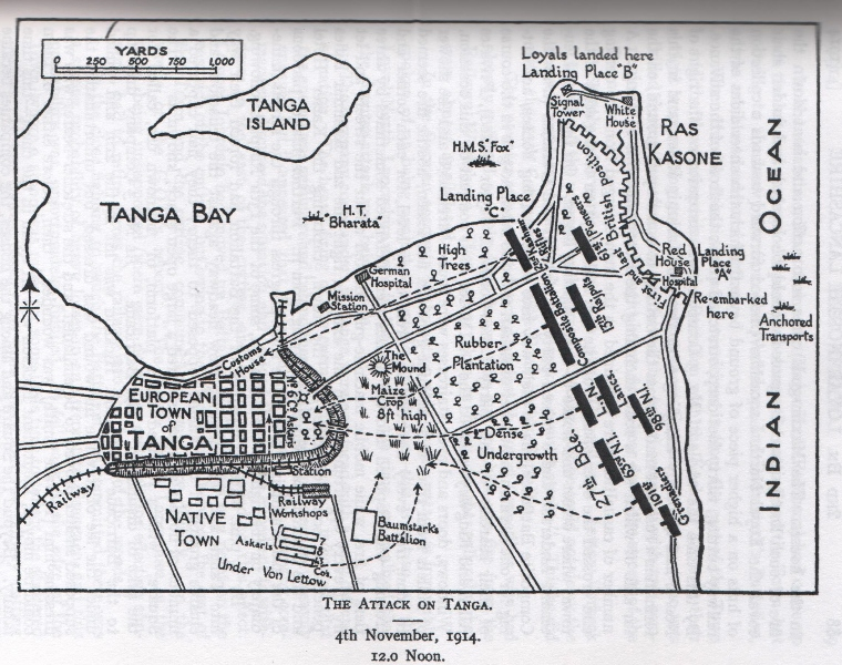 A map of the Battle of Tanga