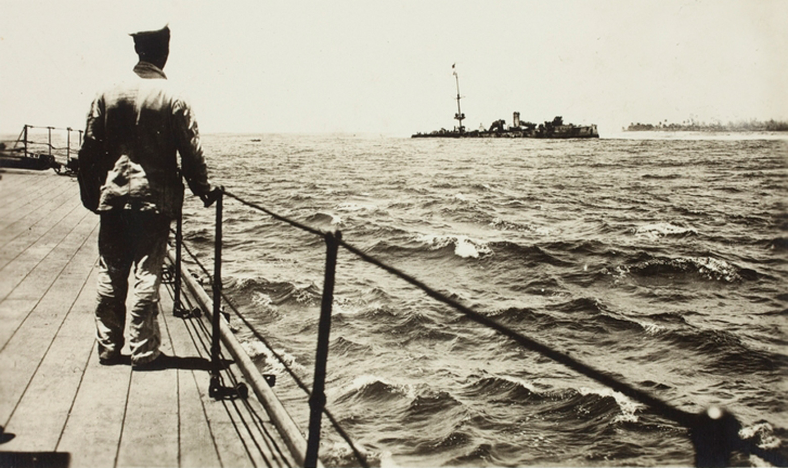 A photo taken from the deck of the Sydney after running the Emden aground