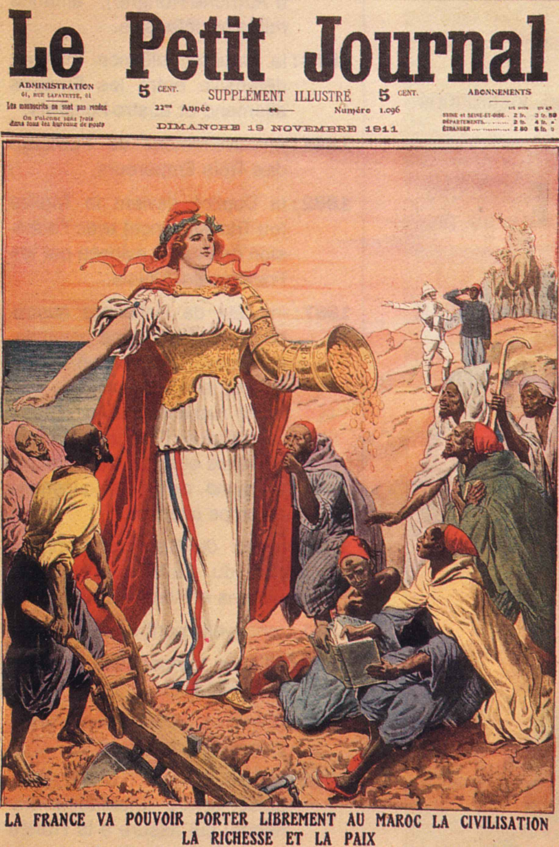 An infamous journal cover celebrates the French protectorate of Morocco as a civilization-building project