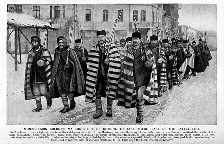 Montenegrin infantry on the march. Their traditional footgear was terrible for wet weather conditions or undrained trenches