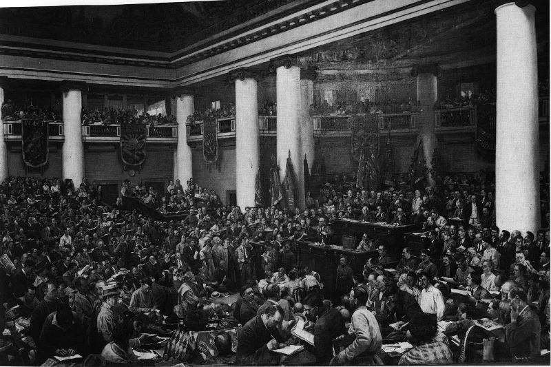 """""""The Ceremonial Opening of the Second Congress of the Third International"""" by Isaak Brodsky, whose work would become the foundation of socialist realism"""