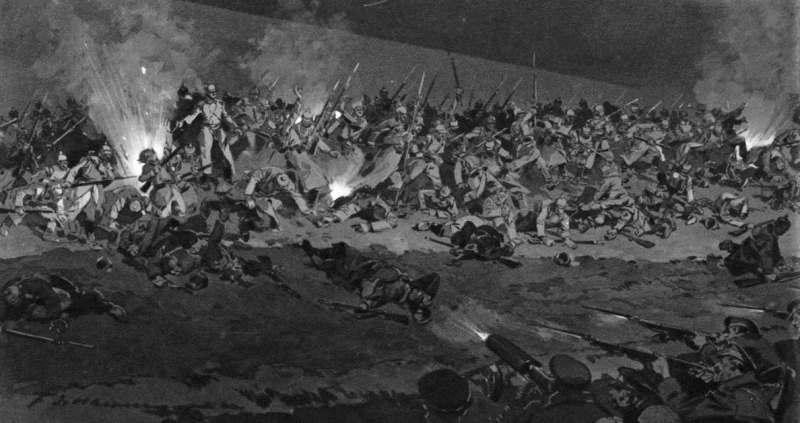 Part of a Frederic de Haenen illustration of night fighting on the Vistula River
