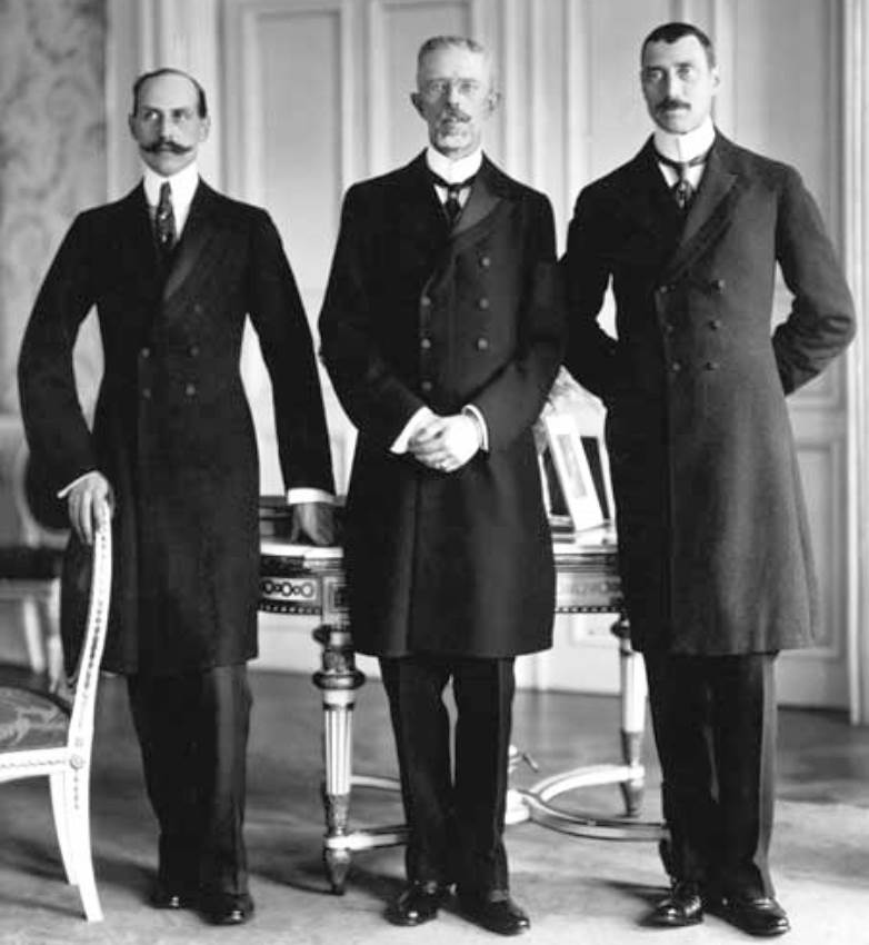 L to R: Haakon VII of Norway, Gustaf V of Sweden and Christian X of Denmark