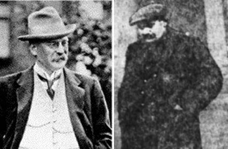 L: Ahlers before the war. R: Ahlers being led down the courthouse steps after his trial