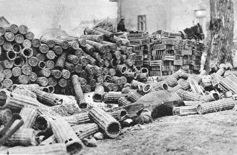Stacked ammunition baskets left behind in a Russian retreat