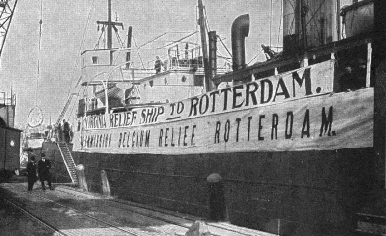 A ship from the Commission for Belgian Relief at dockside in Rotterdam
