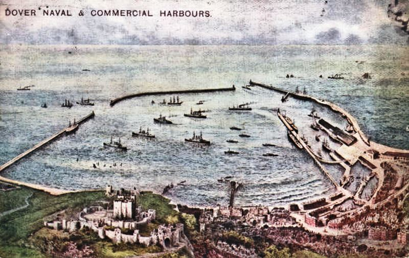 A 1914 postcard view of Dover Harbor, which hasn't changed much in 100 years