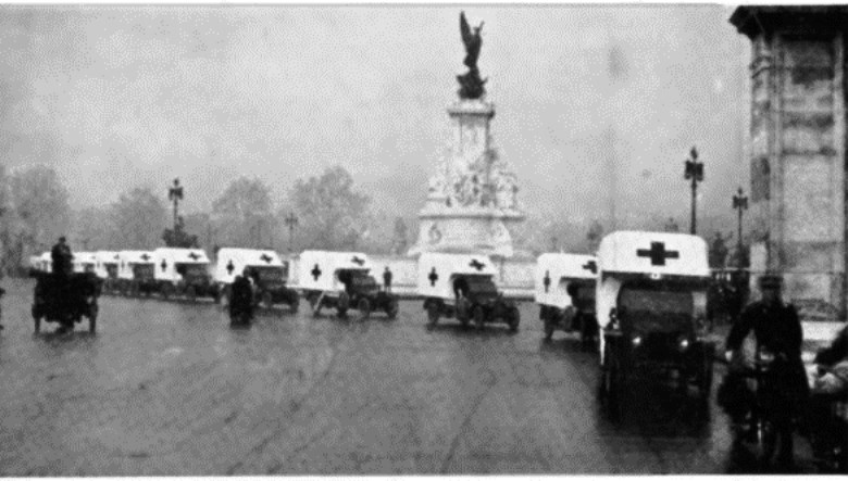 The Maharaja Scindia of Gwalior sent 41 ambulances, four officer cars, five trucks, and ten motor-cycles to the front. They arrived in time for the fighting today