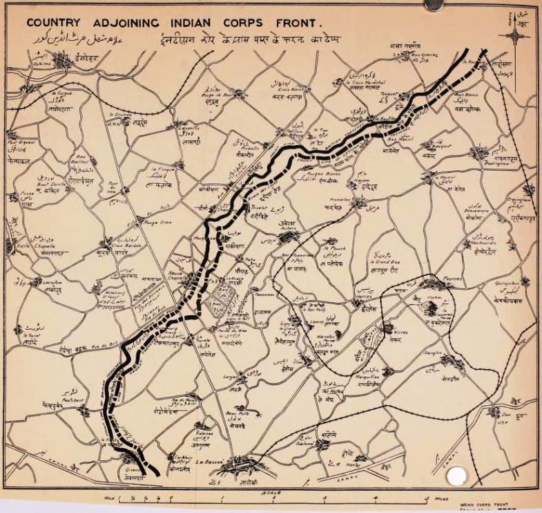 A map of the lines held by the Indian Corps