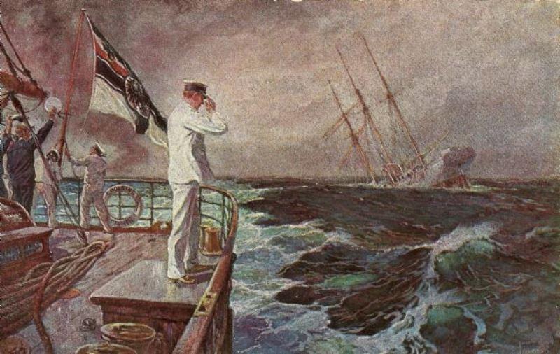 A propaganda postcard of Lieutenant Muller saluting the Ayesha