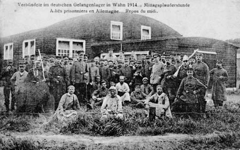 French prisoners at a German work camp in 1914
