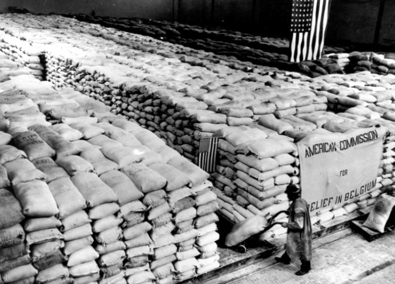 Stacked bags of flour