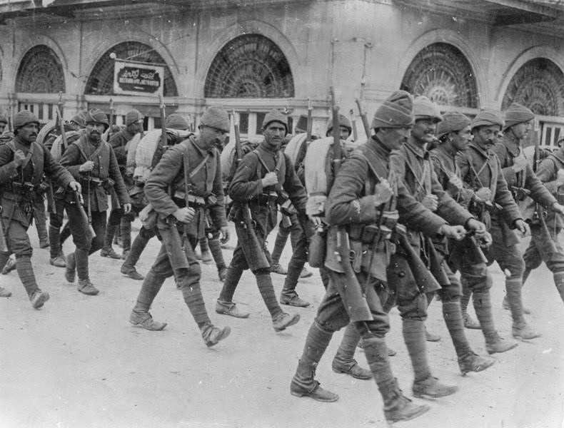 Turkish soldiers on the march