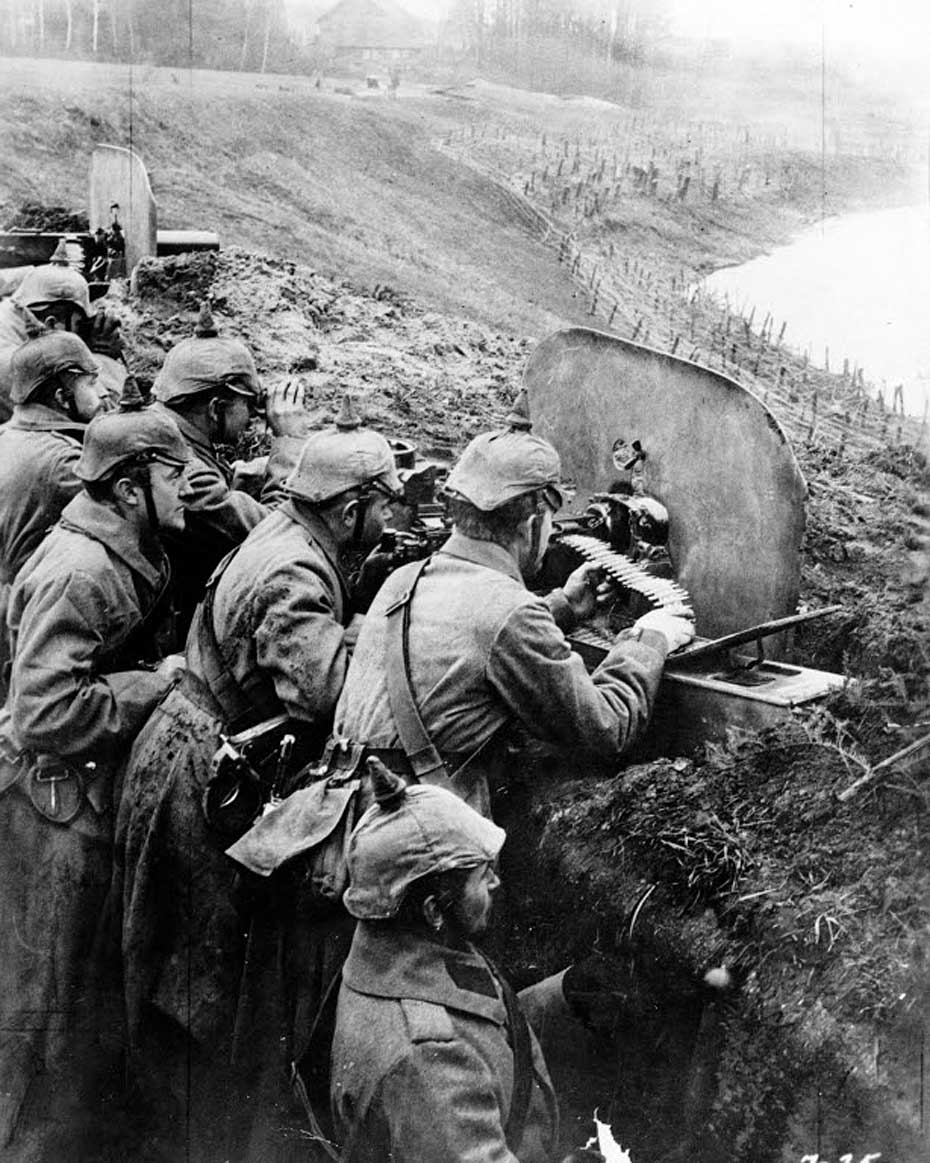 Germans man a fighting position on the Middle Vistula in 1916