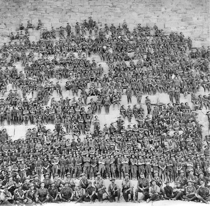 The Australian 11th Battalion poses for  group photo on the pyramid of Cheops
