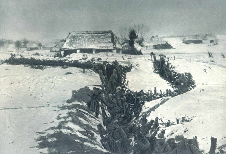 Austrian soldiers manning a trench at Vojvodina during Winter fighting